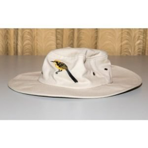 bone or green 20cm wide brimmed sun hat with embroidered helmeted honeyeater