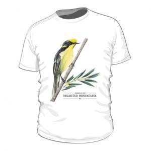 organic cotton australian made child size white tshirt with illustrated picture of helmeted honeyeater on a branch and foliage with friends of the helmeted honeyeater logo