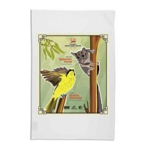 white tea towel with helmeted honeyeater and leadbeater's possum graphic for 50th anniversary faunal emblems